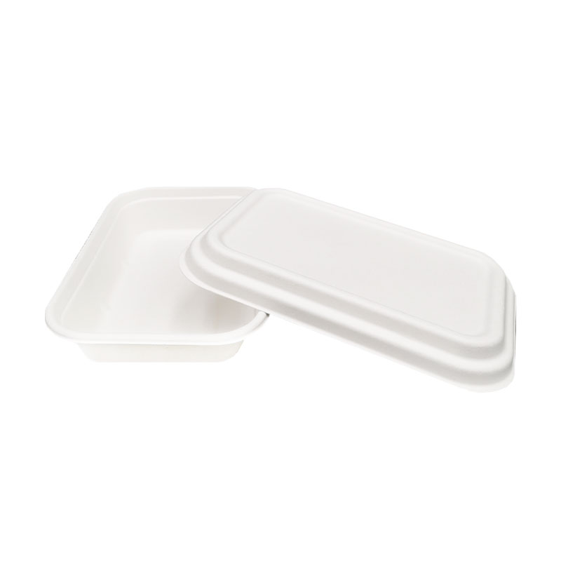 Caja rectangular compostable de pulpa de caña de azúcar de 750 ml con tapa
